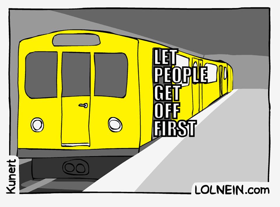 Zugetikette - Einzelbild aus dem 'Train Etiquette' GIF von Vincent Kunert von LOLNEIN