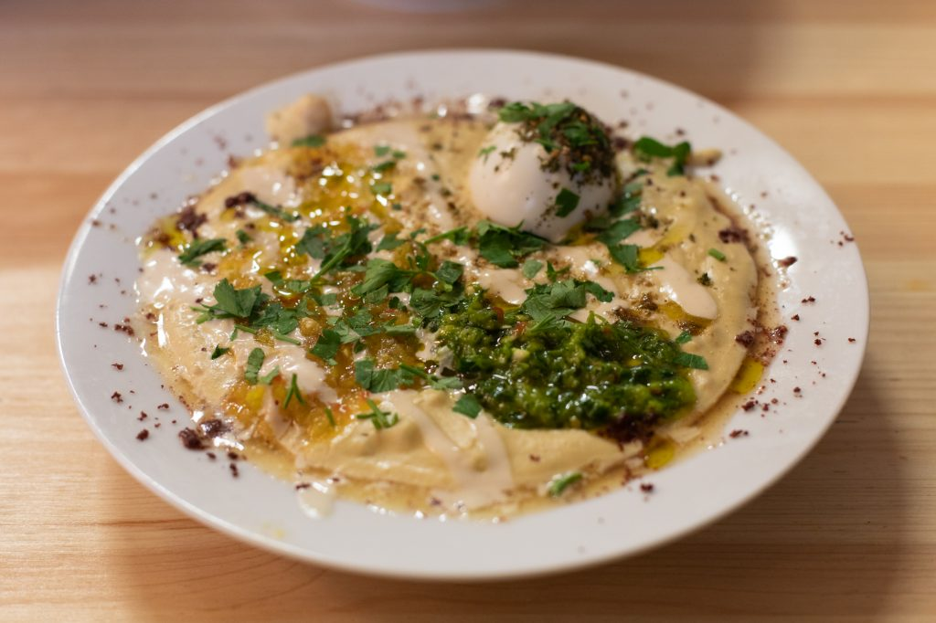 Masabacha at Kanaan in Berlin, a modern Middle Eastern restaurant run by an Israeli and a Palestinian