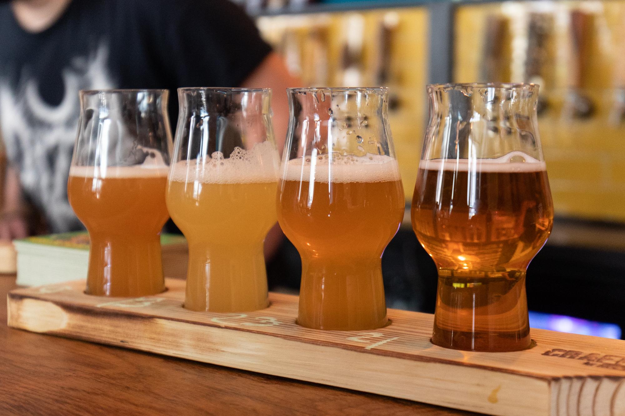 Ein 'Beer Flight' im Protokoll Taproom Berlin, eine Craft Beer Bar mit 24 Zapfhähne in Berlin Friedrichshain