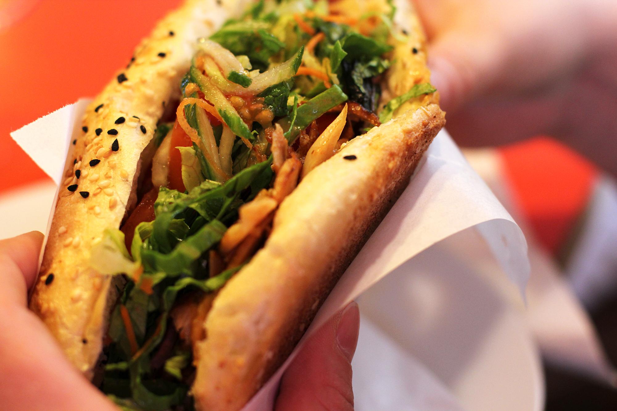 Eating Gemüse Döner im Brot at Rüyam Gemüse Kebab Berlin