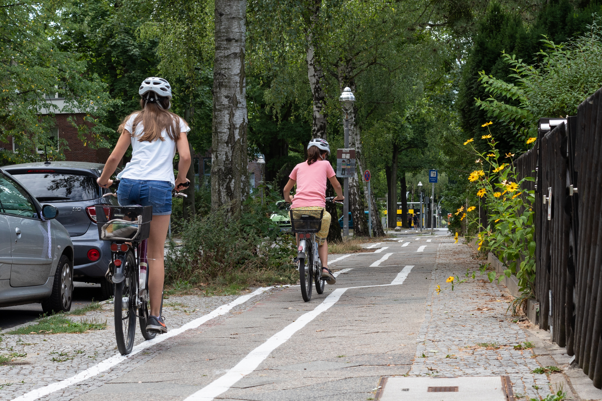 Cyclists on the zig zag cycle path in Berlin Zehlendorf